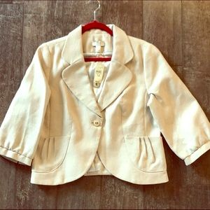 NWT Loft Blazer in light cream with silver shimmer